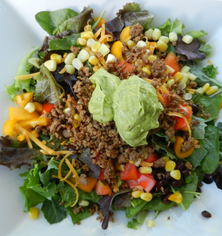 Taco Salad with Creamy Avocado Dressing (for 2)