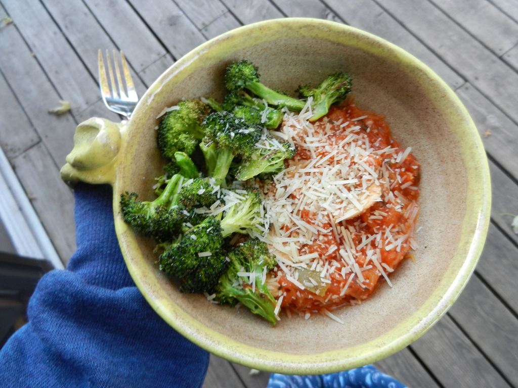 Spaghetti squash with marinara sauce, roasted garlic broccoli and ...