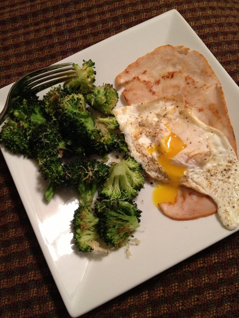 roasted broccoli with turkey and egg